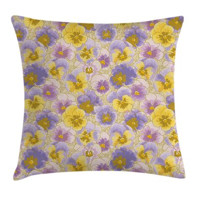 Modern Floral Graphic Print Pillow Cover Size: 18 x 18