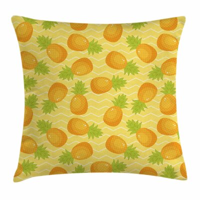 Chevron Exotic Pineapple Square Cushion Pillow Cover Size: 18 x 18