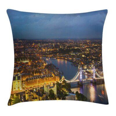 Modern Sunset at London City Square Pillow Cover Size: 24 x 24