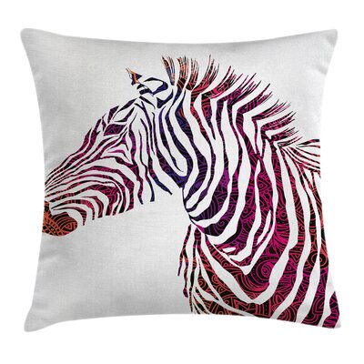 Ornamental Zebra Profile Cushion Pillow Cover Size: 18