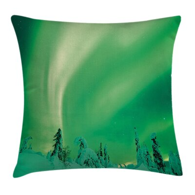 Northern Light Pole Sky Display Cushion Pillow Cover Size: 18 x 18
