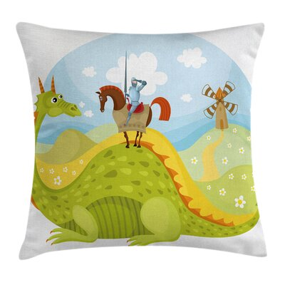 Cartoon Knight and His Horse Square Pillow Cover Size: 18 x 18