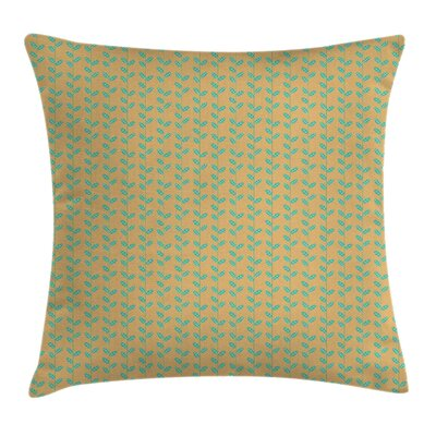 Lines with Spring Leaves Square Pillow Cover Size: 16 x 16