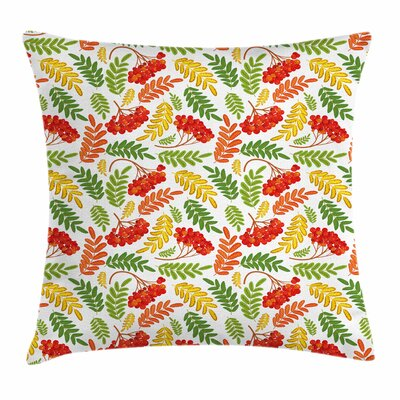 Autumnal Flora Pattern Square Pillow Cover Size: 18 x 18