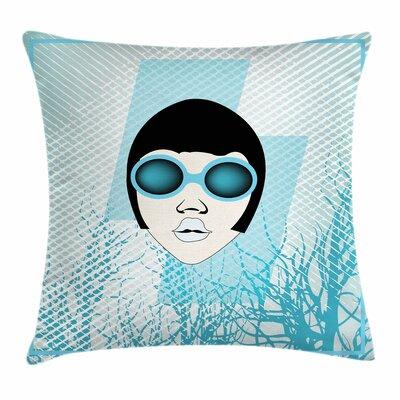 Retro Woman Sunglasses Square Cushion Pillow Cover Size: 16 x 16
