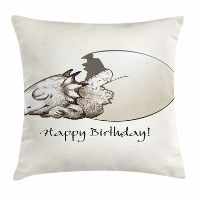 Dinosaur Birthday Newborn Dino Square Cushion Pillow Cover Size: 18 x 18