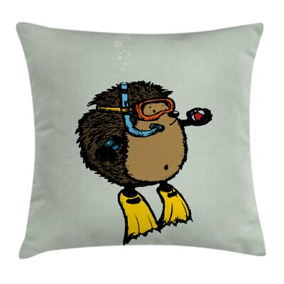 Scuba Diver Hedgehog Square Pillow Cover Size: 16 x 16