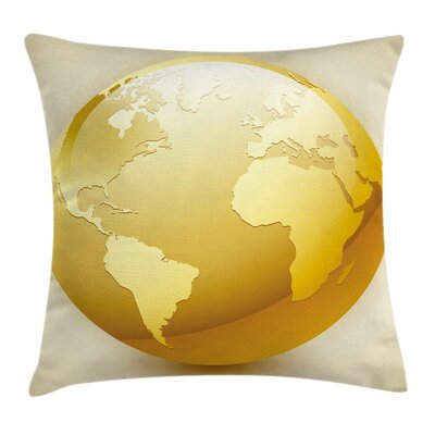 Vivid Earth Icon Sphere Square Pillow Cover Size: 16 x 16