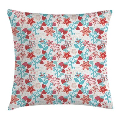 Flowers Berries Square Pillow Cover Size: 18 x 18
