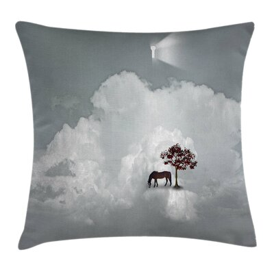 Fantasy Horse Spring Tree Cloud Square Pillow Cover Size: 18 x 18