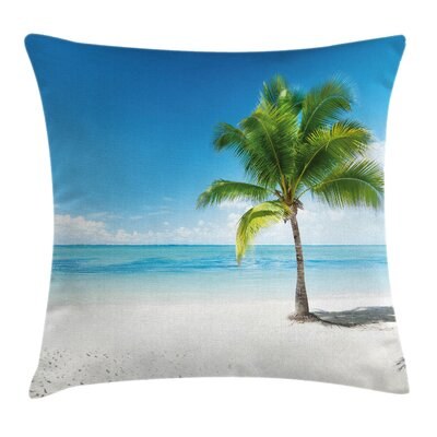 Coconut Tree on the Beach Pillow Cover Size: 24 x 24