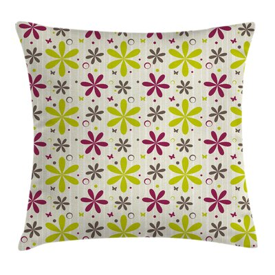 Florets Circle Hoop Square Pillow Cover Size: 16 x 16