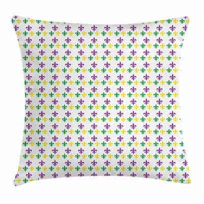 Mardi Gras Carnival Lily Flower Square Cushion Pillow Cover Size: 24 x 24