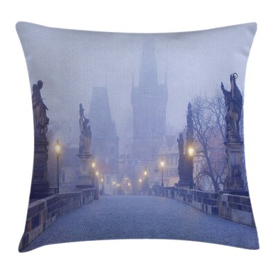 Foggy Streets Square Pillow Cover Size: 24 x 24