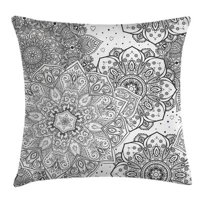 Mandala Indian Ethnic Floral Square Pillow Cover Size: 18 x 18