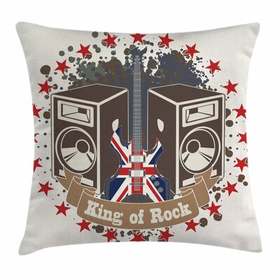 King Rock Label Square Pillow Cover Size: 16 x 16