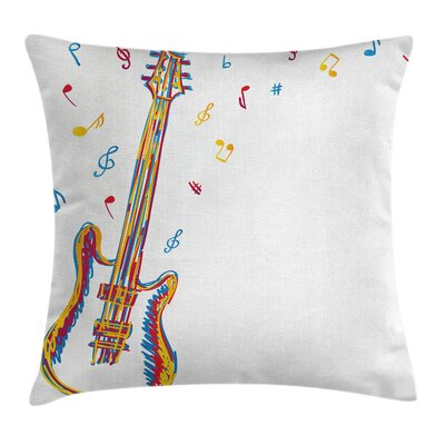 Guitar Art Cushion Pillow Cover Size: 18 x 18