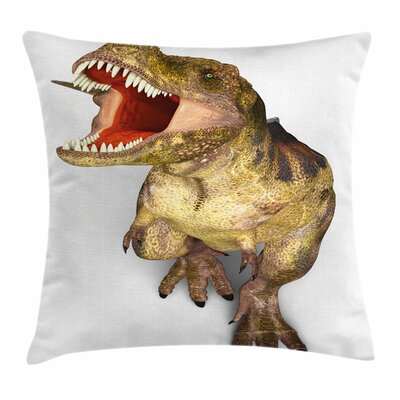 Dinosaur Roaring Vivid T-Rex Square Cushion Pillow Cover Size: 20 x 20