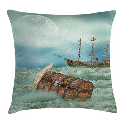 Antique Old Trunk Ocean Waves Square Pillow Cover Size: 24