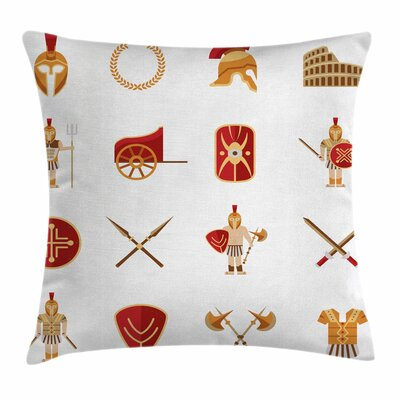 Warriors Icons Set Square Cushion Pillow Cover Size: 24 x 24
