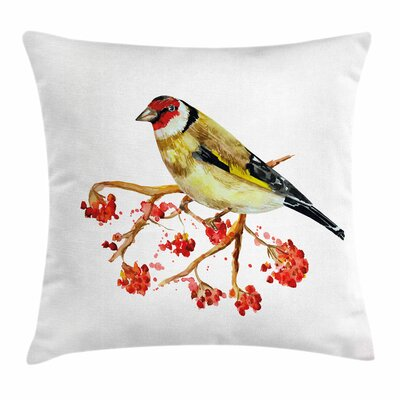 Wild Bird on Berry Branch Square Pillow Cover Size: 20 x 20