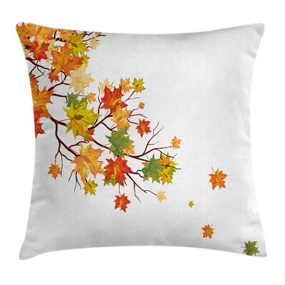 Fall Decor Autumn Maple Leaves Square Pillow Cover Size: 16 x 16
