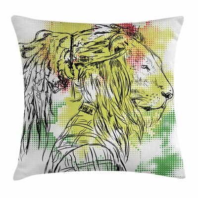 Rasta Sketchy Lion Head Digital Square Pillow Cover Size: 16 x 16