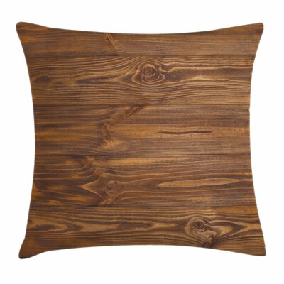 Wooden Nature Forest Trees Art Square Pillow Cover Size: 18 x 18