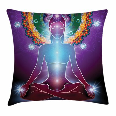 Yoga Inner Peace Mystic Energy Square Pillow Cover Size: 24 x 24
