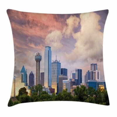 United States Dallas Skyline Square Pillow Cover Size: 16 x 16