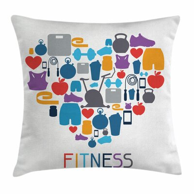 Fitness Sports Healthcare Icons Square Pillow Cover Size: 16 x 16
