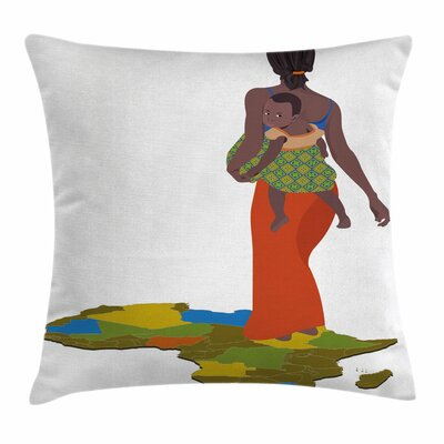 African Woman Mother Baby Map Square Pillow Cover Size: 18 x 18