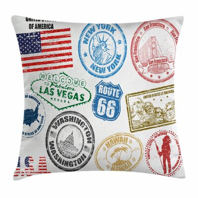 United States Grunge Stamps Square Pillow Cover Size: 18 x 18