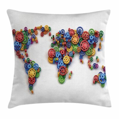 Gear Map Art Square Pillow Cover Size: 18 x 18