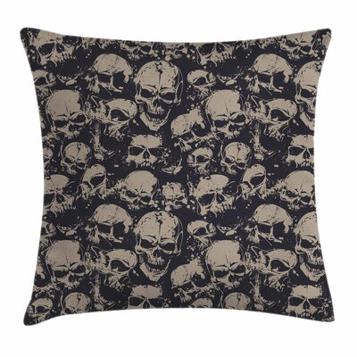 Skull Decor Grunge Scary Evil Square Pillow Cover Size: 20 x 20
