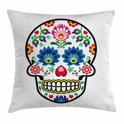Sugar Skull Polish Folk Art Square Pillow Cover Size: 16 x 16