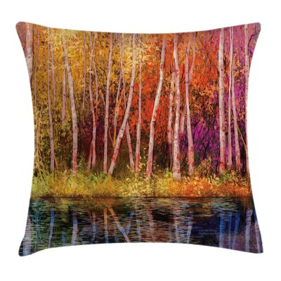 Forest Autumn Trees By Lake Square Pillow Cover Size: 24 x 24
