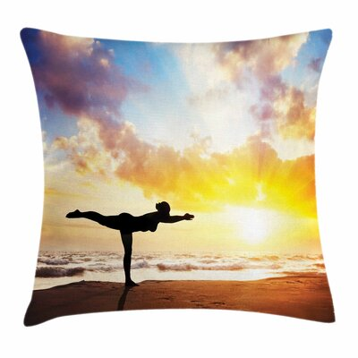 Yoga Warrior Pose Majestic Sky Square Pillow Cover Size: 18