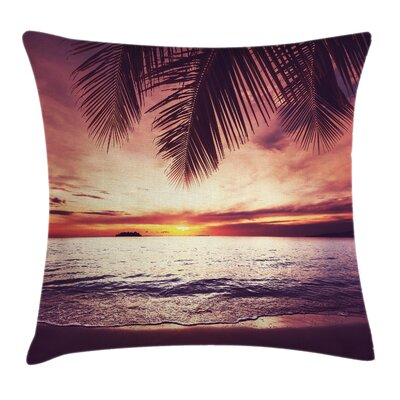 Tropical Sunset Ocean Waves Square Pillow Cover Size: 18