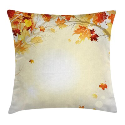 Fall Decor Autumn Leaves Tree Square Pillow Cover Size: 16 x 16
