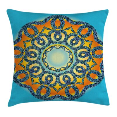 Oriental Ethnic Mandala Floral Square Pillow Cover Size: 16