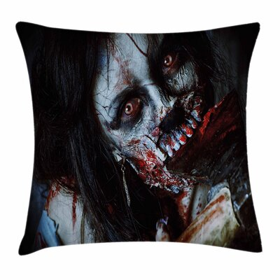Zombie Decor Bloody Axe Woman Square Pillow Cover Size: 24 x 24