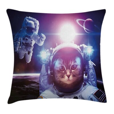 Space Cat Galaxy Eclipse Saturn Square Pillow Cover Size: 24 x 24