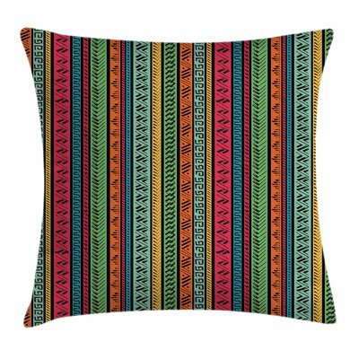 Hippie Indian Native Borders Square Pillow Cover Size: 24 x 24