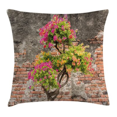 Floral Flourishing Tree Wall Square Pillow Cover Size: 18 x 18