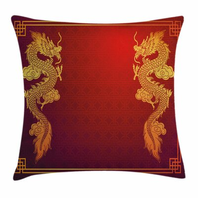Dragon Historic Asian Creature Square Pillow Cover Size: 24 x 24