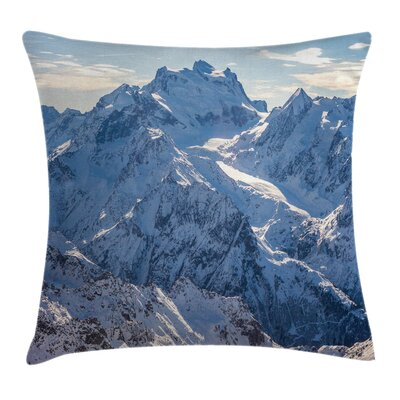 Nature Snowy Alps Mountain Square Pillow Cover Size: 24 x 24