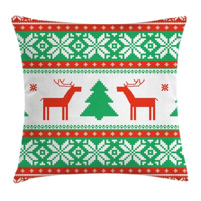 Christmas Holiday Season Deer Square Pillow Cover Size: 16 x 16