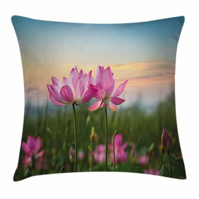 Lotus Asian Blooms Zen Garden Square Pillow Cover Size: 16 x 16
