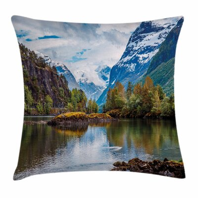 Snowy Norway Mountains Square Pillow Cover Size: 16 x 16